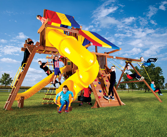 55M Rainbow Castle Pkg V with 270 Spiral Slide Swing Set