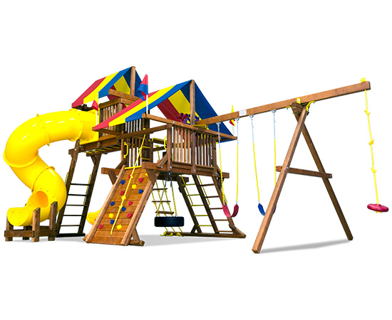 55N Rainbow Castle Pkg V Loaded with 360 Spiral Slide Swing Set