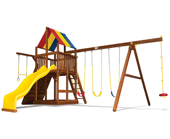 58E Rainbow Clubhouse Pkg II with 4 Pos Swing Beam and Sandbox