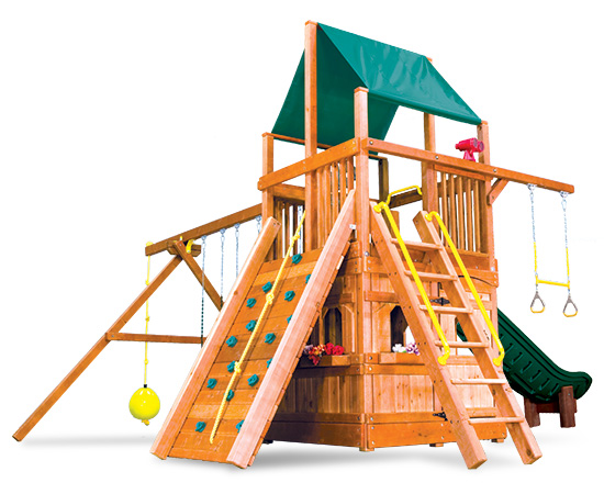 59G Rainbow Clubhouse Pkg II with Lower Level Playhouse Swing Set