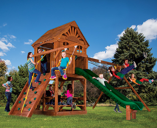 59J Rainbow Clubhouse Pkg II with Cabin Package Swing Set