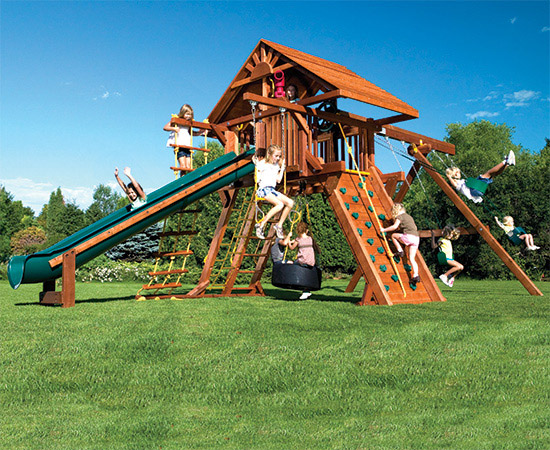 66D Monster Castle Pkg II Loaded with Wood Roof Swing Set