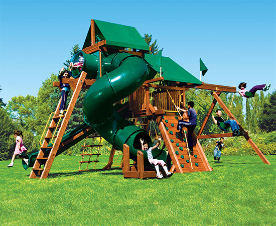67F Monster Castle Pkg V Forest Green and Loaded Swing Set