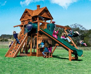74J Monster Clubhouse Pkg II Unique Huckleberry Hideout Swing Set