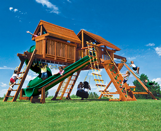 80G King Kong Castle Pkg V Supersized Grand Slam with Wood Roofs Swing Set