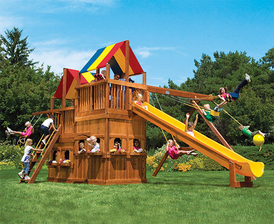 86C King Kong Clubhouse Pkg II with Lower Level Playhouse Swing Set