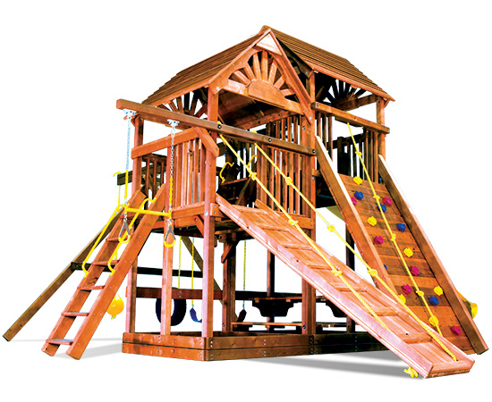 86D King Kong Clubhouse Pkg II Nicely Equipped and Wood Roofs Playset