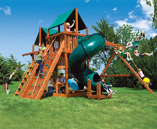 87E King Kong Clubhouse Pkg II Forest Green and 360 Spiral Swing Set