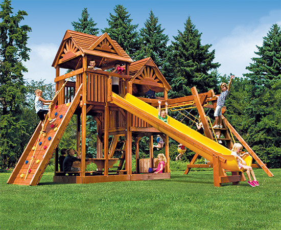 87F King Kong Clubhouse Pkg III Loaded with Wood Roofs Swing Set