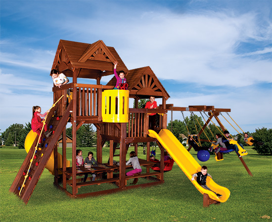 90M King Kong Clubhouse Quarter Turned Base Pkg II with Dual Picnic Tables and Dual Wood Roofs Swing Set