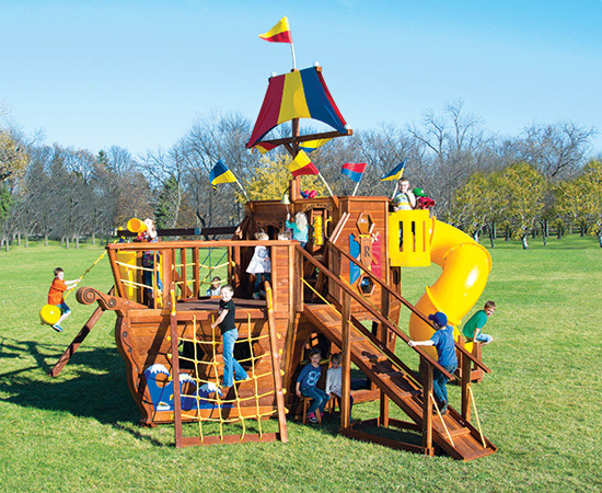 93A The Ship Pkg II with 360 Spiral Slide Swing Set