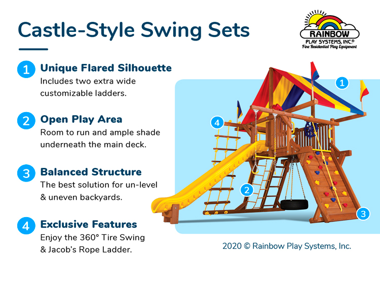 Rainbow Castle Style Swing Sets