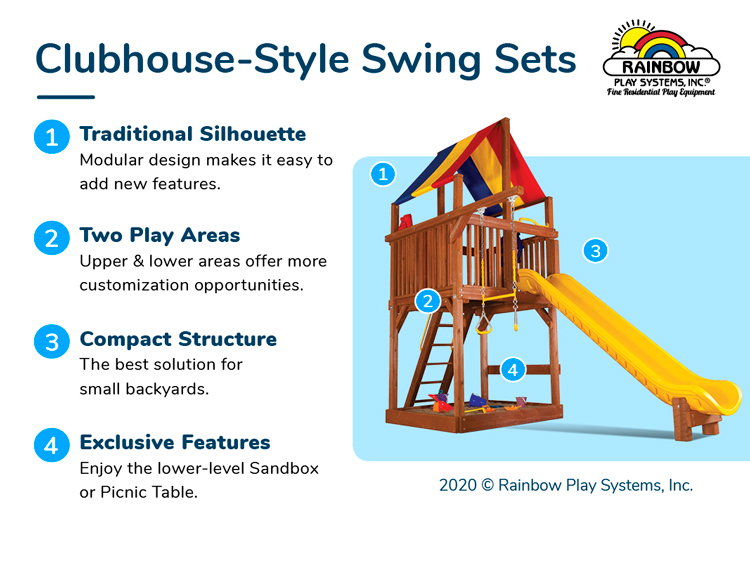 Rainbow Clubhouse Style Swing Sets