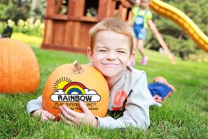 Rainbow Pumpkin with Little Boy