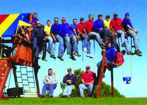 Rainbow employees on swing beam